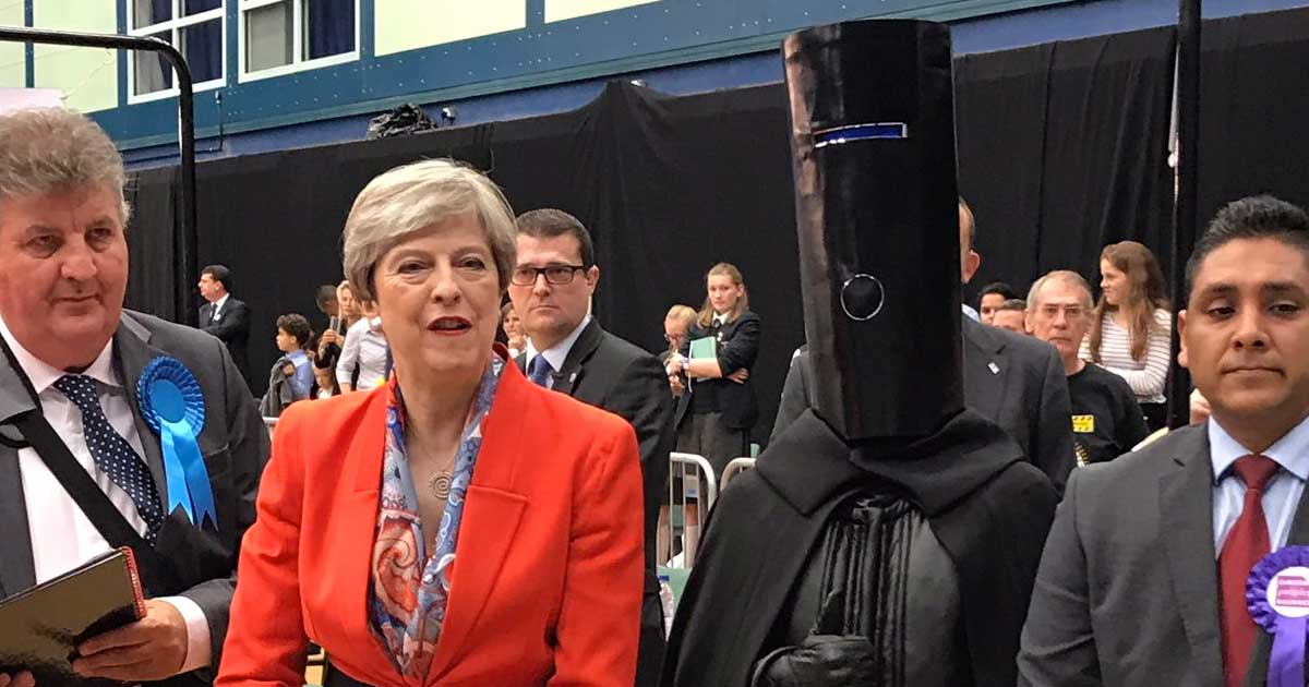Lord Buckethead with Theresa May