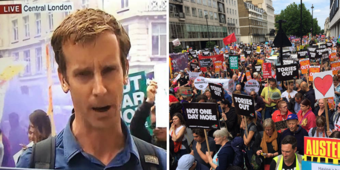 The BBC just broadcast a sign calling the Tories 'cunts'