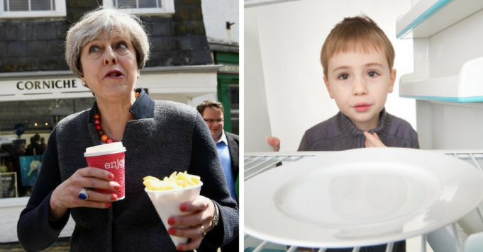 theresa feasts as kids go hungry