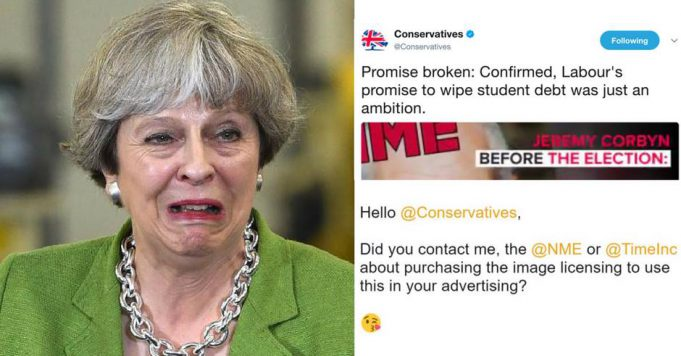 Theresa May Conservatives NME Unauthorised Image