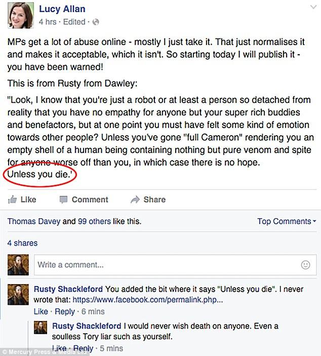Lucy Allan Fake Death Threat