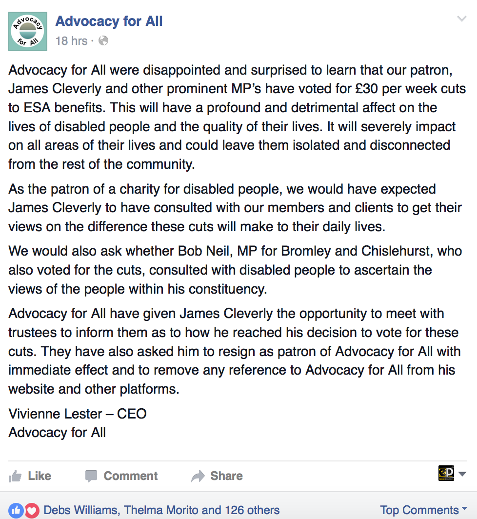 Advocacy for All tell Tory MP James Cleverly to resign as patron