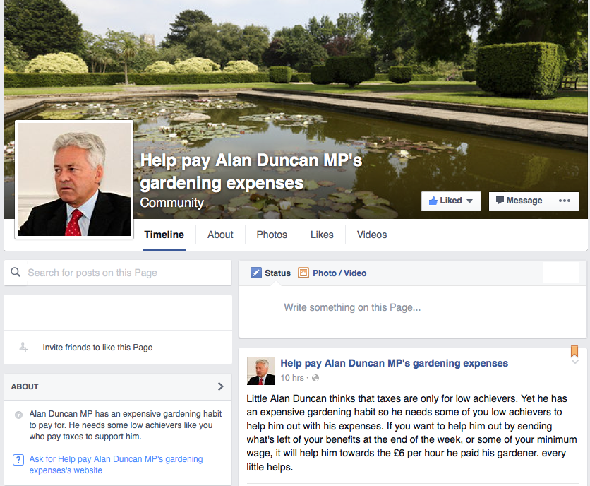 Help pay Alan Duncan MP's gardening expenses