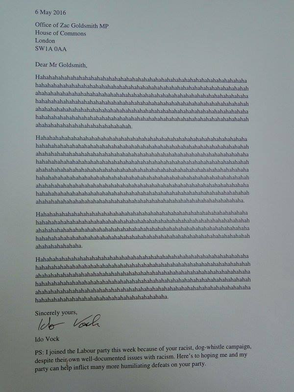 Zac Goldsmith commiseration letter