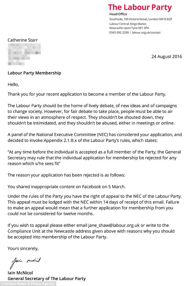 Catherine Starr Labour Letter