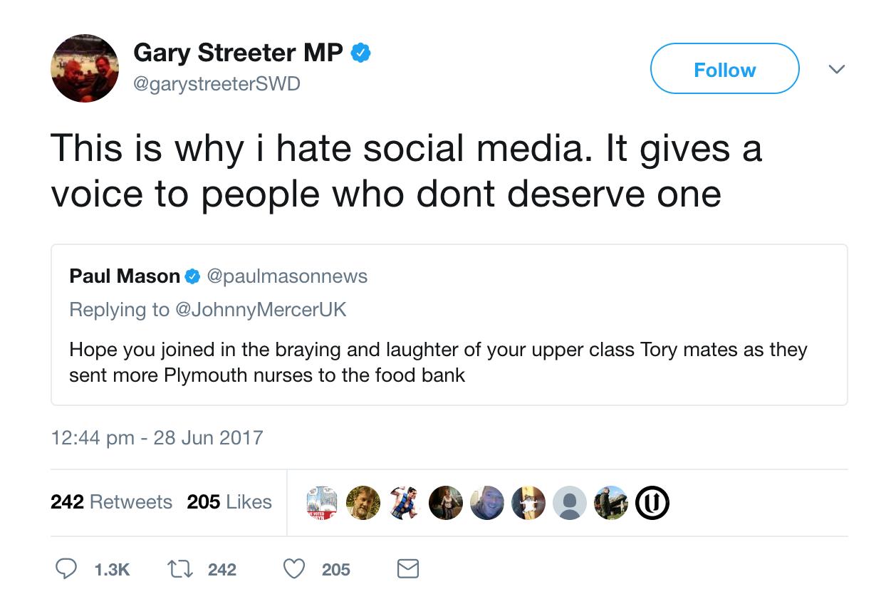 Gary Streeter Tweet Voice