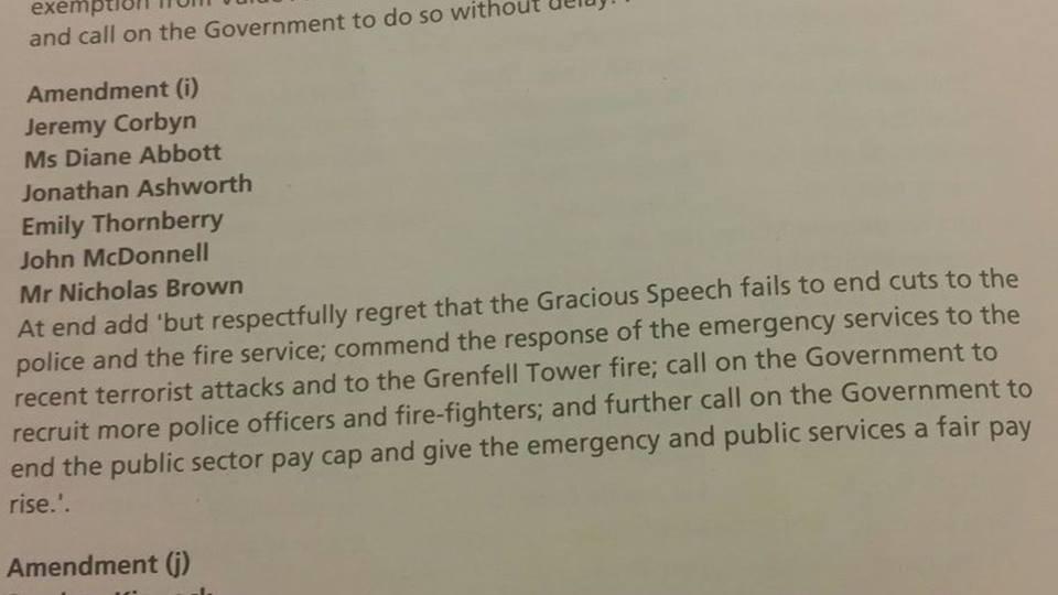 Corbyn Queen's Speech Amendment