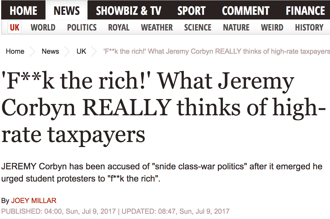 Express Corbyn Fake News Article Fuck The Rich