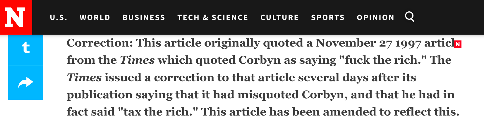 Newsweek Jeremy Corbyn The Time Fuck the Rich Correction