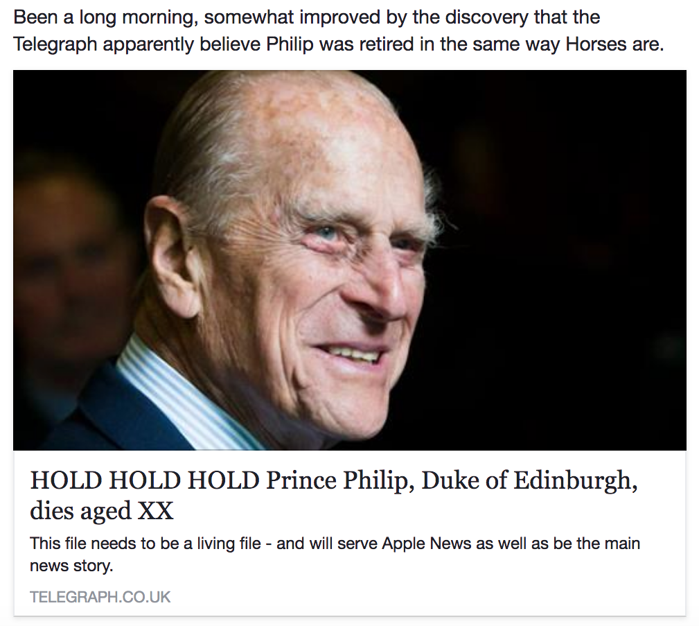 Prince Phillip Horse Retired