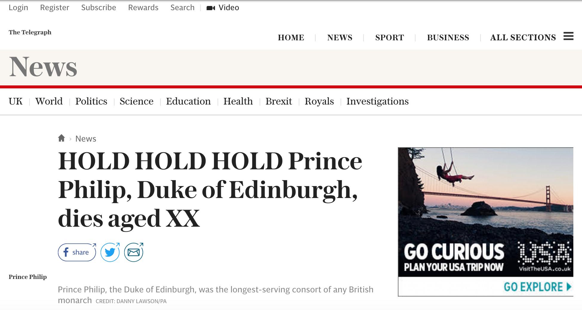 Prince Phillip Obituary Telegraph Headline