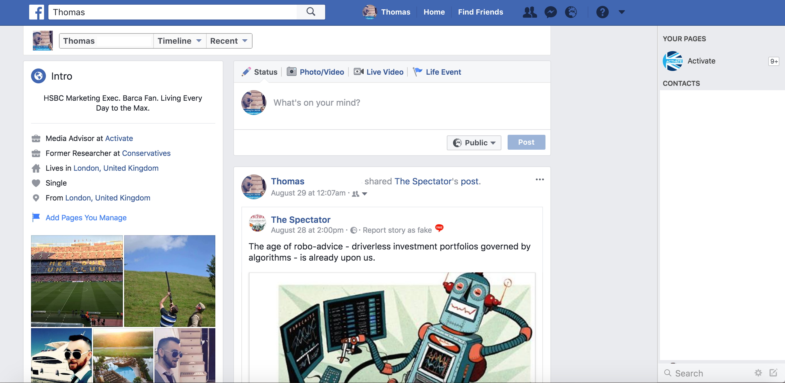 Tory Thomas Profile Activate