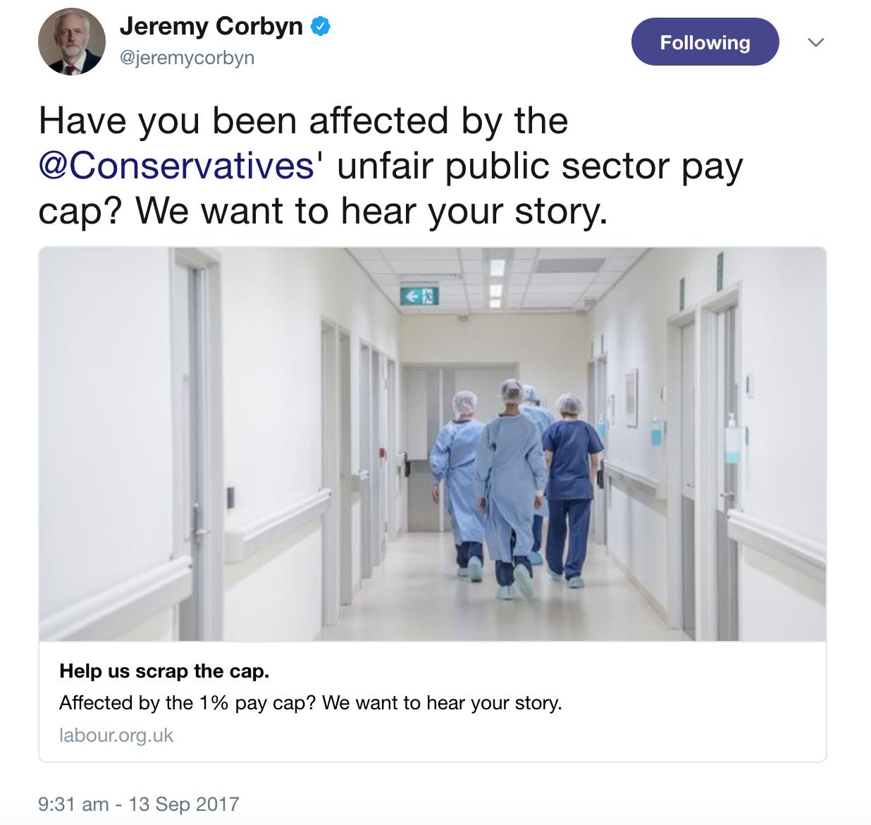 Corbyn Public Sector Pay Cap