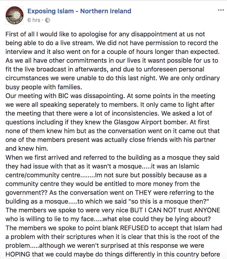 Exposing Islam Belfast Islamic Centre Post 1
