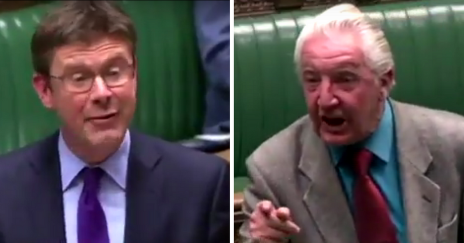 WATCH: Smug Tory Greg Clark tells Dennis Skinner to 'calm down' after being ripped to shreds on Tory Industrial Strategy