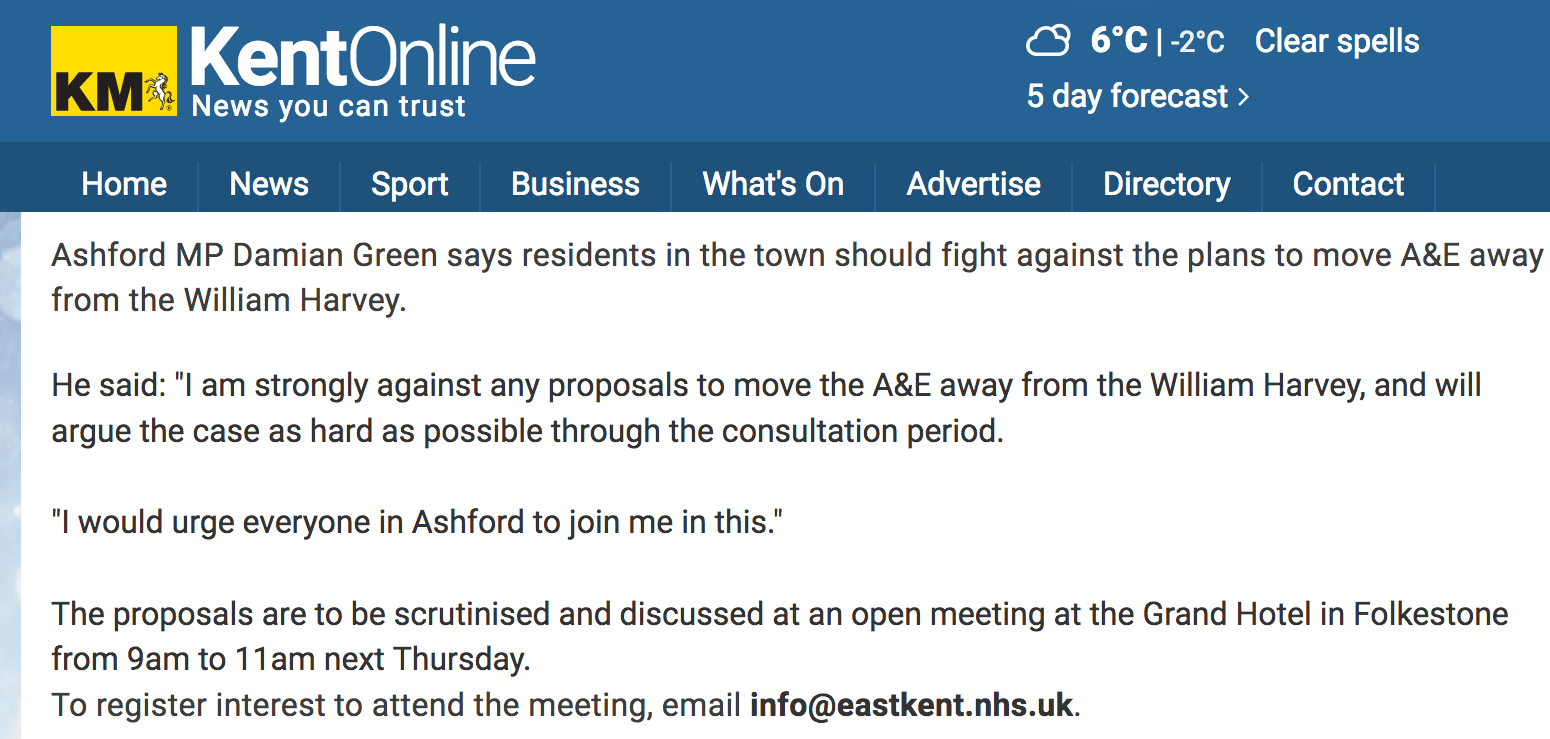 Damian Green Local A&E Closing Down