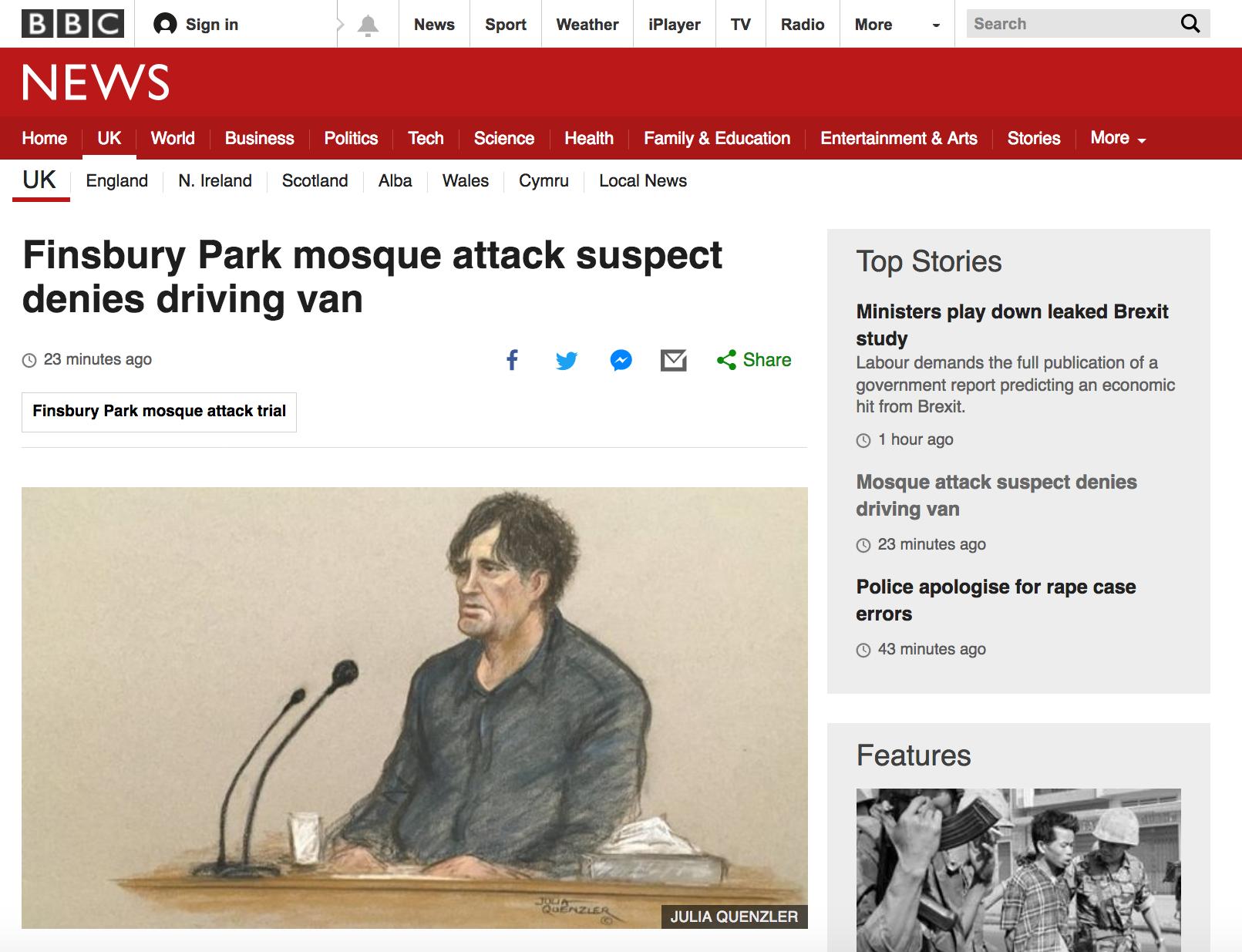 BBC Headline - Man Denies Driving Van