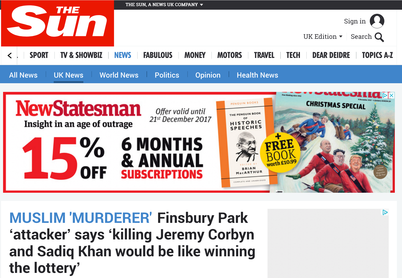 The Sun Headline - Jeremy Corbyn Assassination Plot
