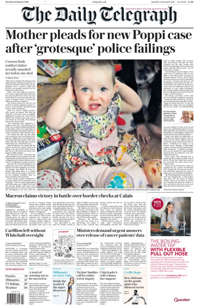 The Telegraph Front Page - 16.01.18