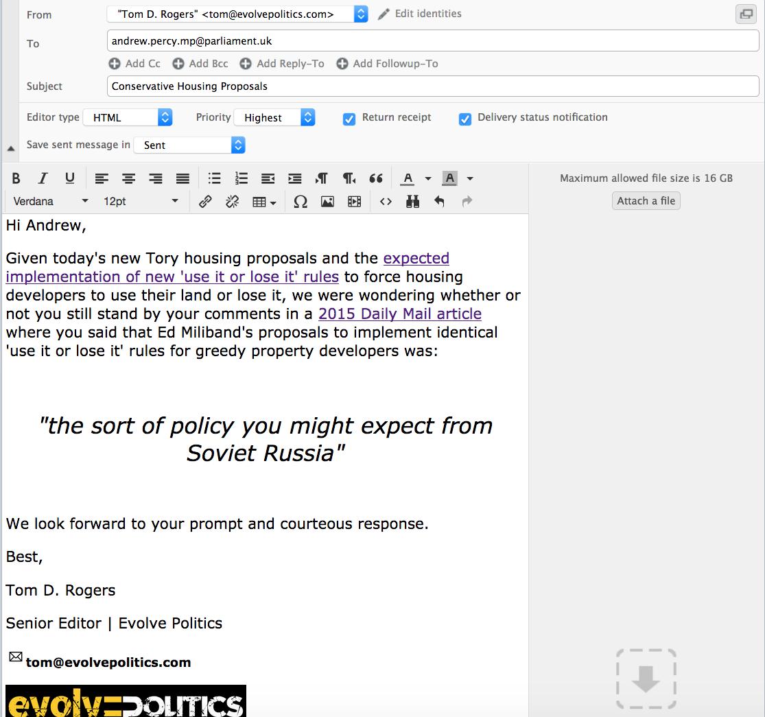 Andrew Percy Email Evolve Politics