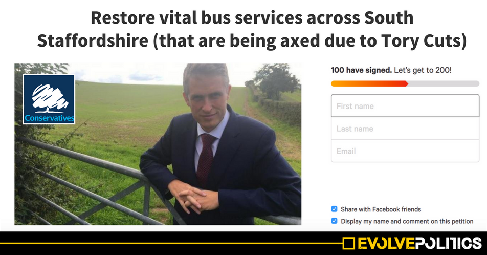 A Tory Cabinet Minister just started a petition to save a bus service that TORY CUTS have destroyed