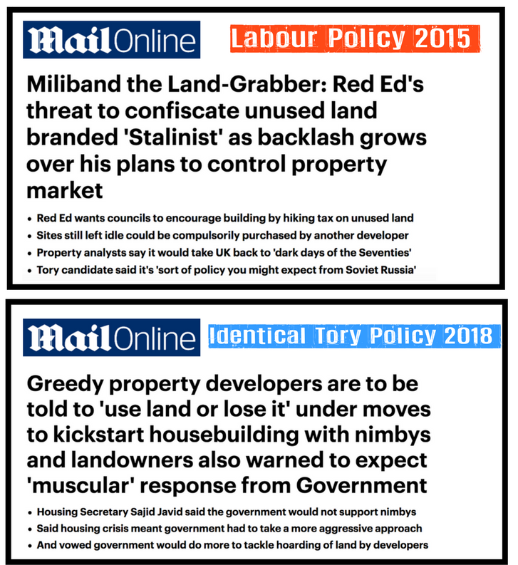 Daily Mail Identical Tory 2018 Labour 2015 Landbanking Use It Or Lose It Policy Reporting