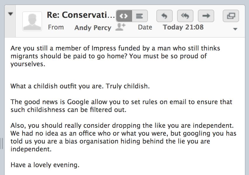 Andrew Percy Reply Evolve Politics