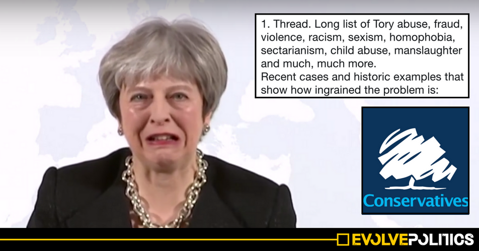 A massive 36-tweet thread exposing the extraordinary scale of Tory racism and abuse is going viral for very obvious reasons
