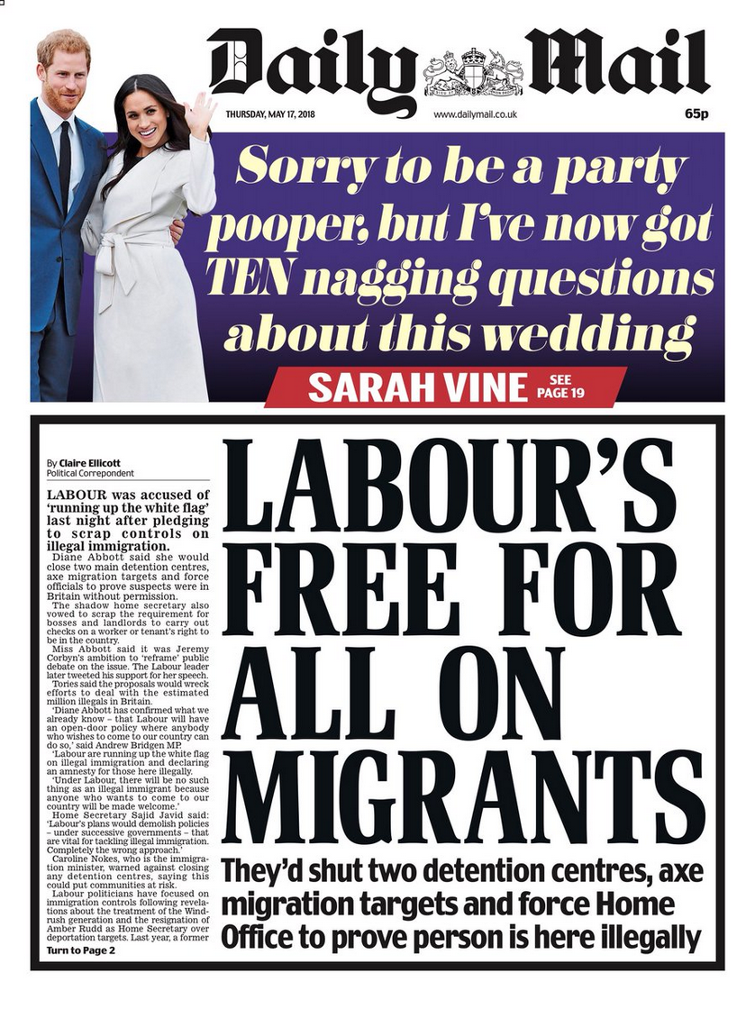 Daily Mail Front Page May 17th - Labour's Free For All On Migrants