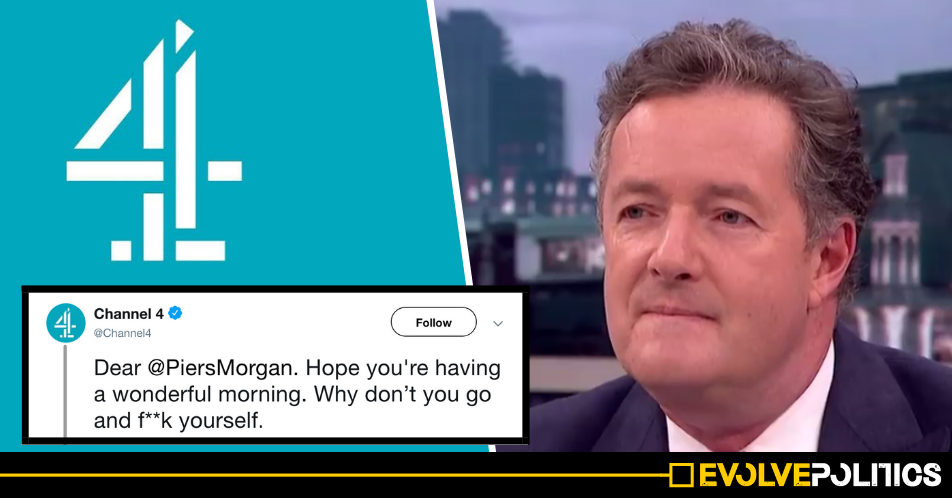 Someone on the official Channel Four Twitter account literally just told Piers Morgan to go f**k himself