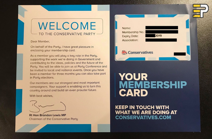Evolve Politics Conservative Party Membership Card