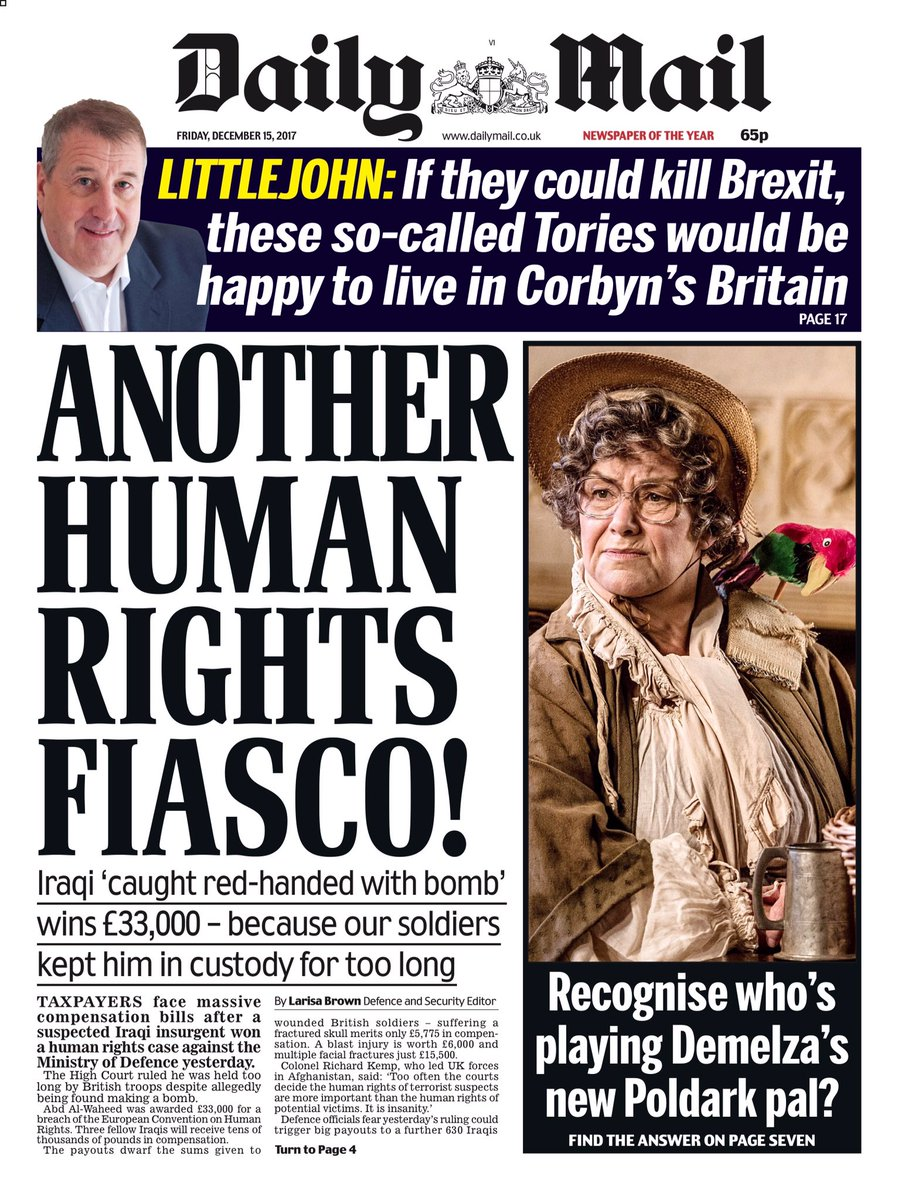 Daily Mail Another Human Rights Fiasco Front Page