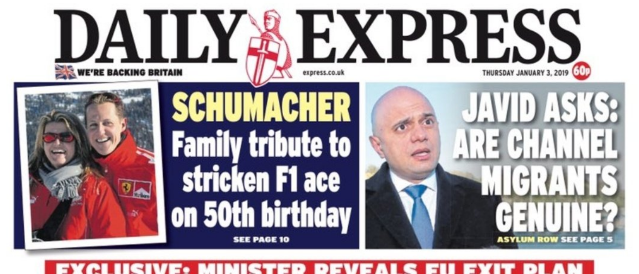 Daily Express Front Page - Sajid Javid Whitened