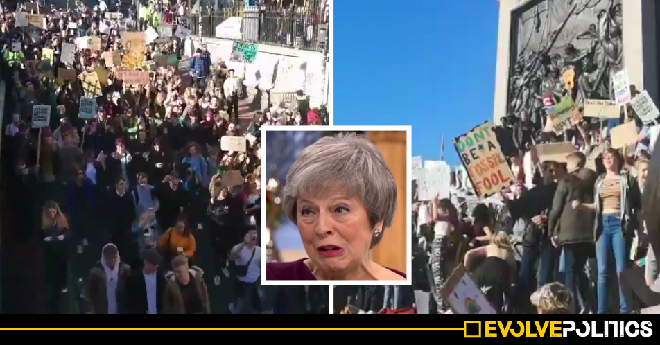 "WATCH: Thousands of kids protesting Climate Change chant ""Oh Jeremy Corbyn"" and F*ck Theresa May"" [VIDEO]"