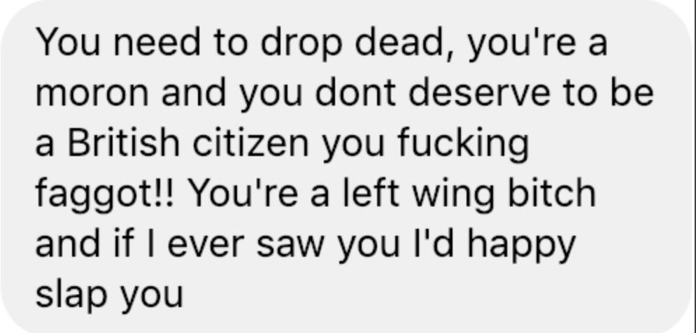 Gaz Northampton homophobic Violent Message To Owen Jones