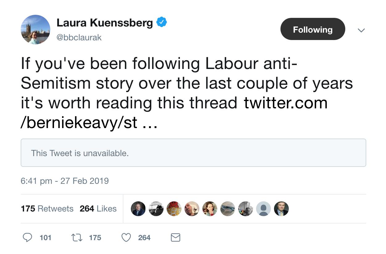 Laura Kuenssberg Bernie Keavy Fake News Corbyn Antisemitism