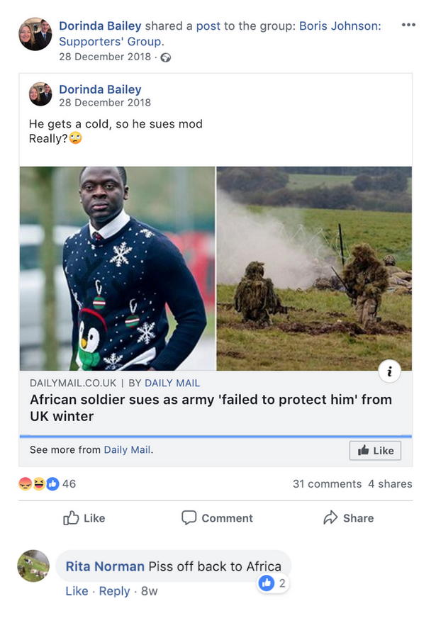 "Boris Johnson Supporters' Group ""piss off back to Africa"""