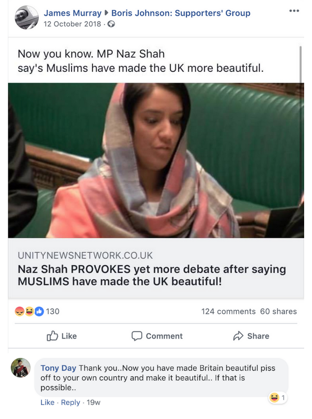 "Boris Johnson Supporters' Group Naz Shah ""piss off to your own country"""