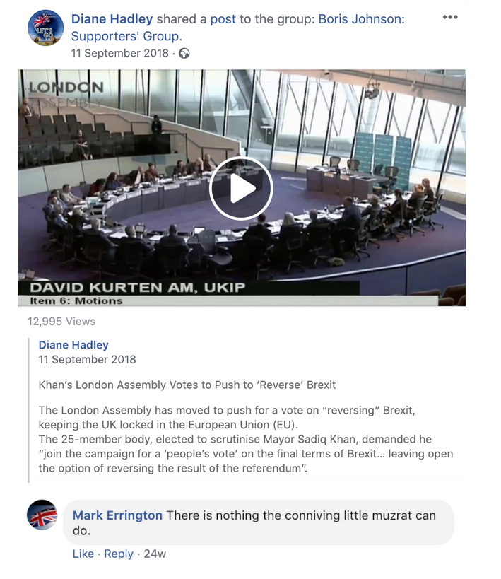 "Boris Johnson Supporters' Group Sadiq Khan ""Conniving little muzrat"""