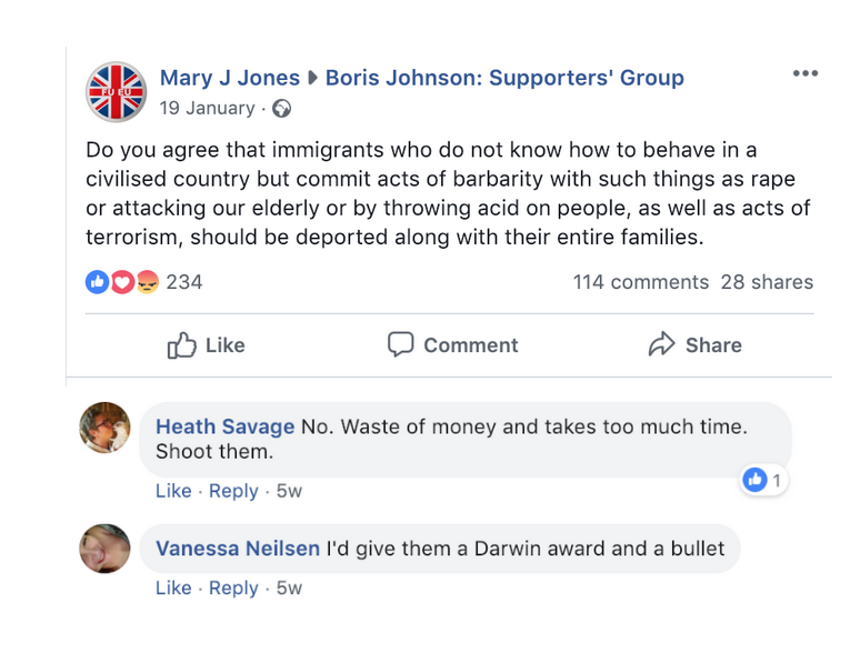 Boris Johnson Supporters' Group Shooting Immigrants Refugees