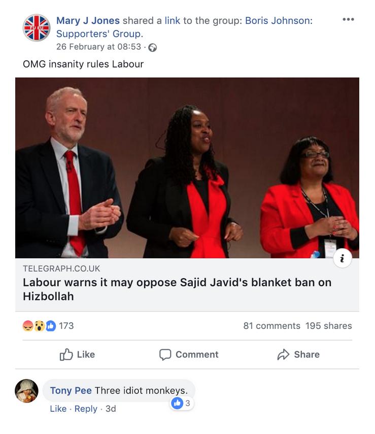 """Boris Johnson Supporters' Group Diane Abbott Dawn Butler """"Monkeys"""""""