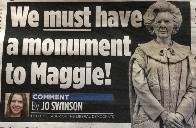 Jo Swinson Margaret Thatcher Monument
