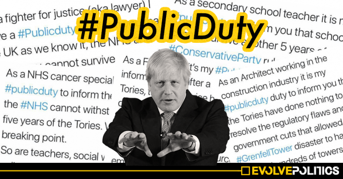 Doctors, Teachers and Public Workers use #PublicDuty en-masse to warn against voting Tory in the 2019 General Election