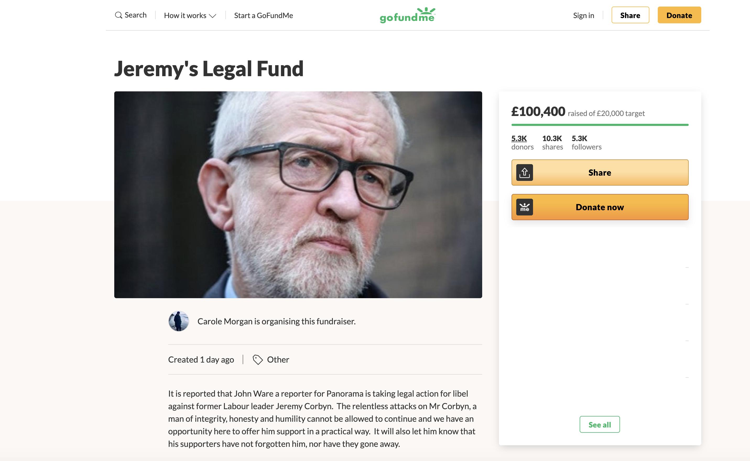 Carole Morgan Jeremy Corbyn Legal Fund