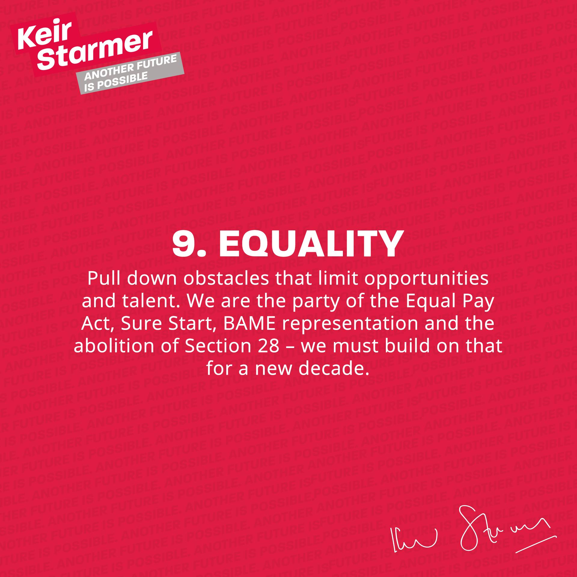 Keir Starmer - 9 Equality - Leadership Pledge Graphic