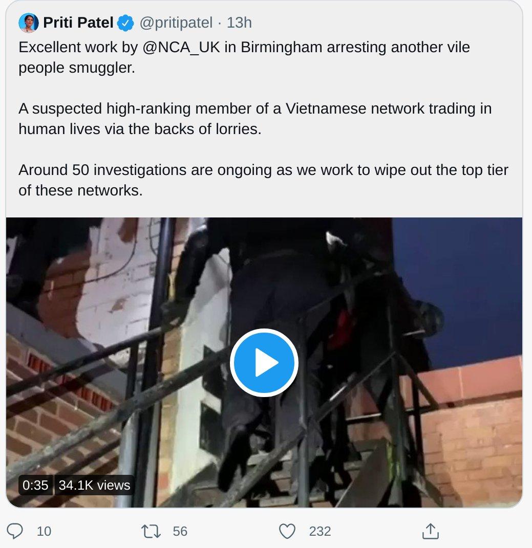Priti Patel Vile People Smuggler Contempt of Court Deleted Tweet